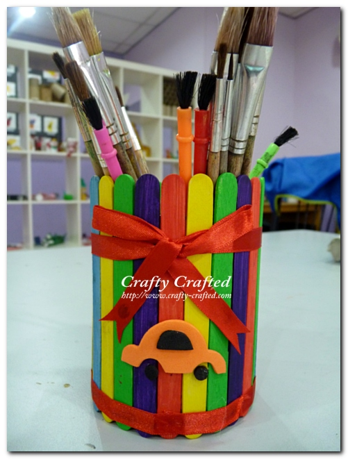 Rainbow craft stick stationery holder