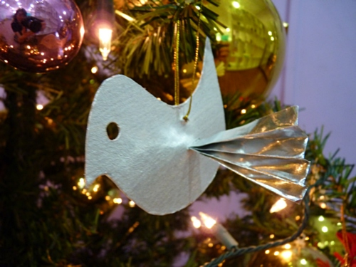 silver bird christmas tree ornament