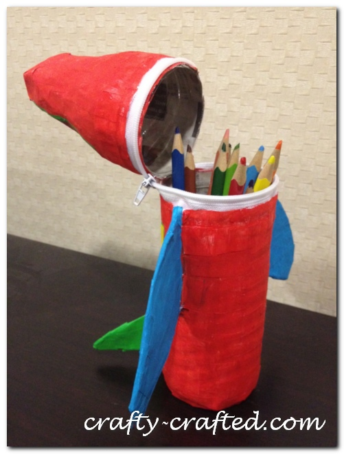 paper mache airplane pencil case