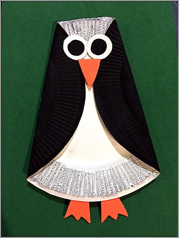 Paper plate penguin 2